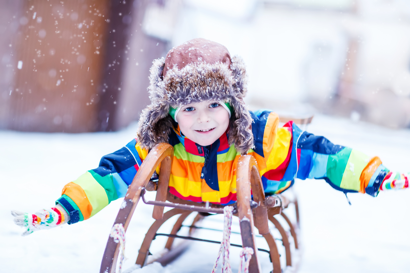Cute Little Funny Boy In Colorful Winter Clothes Having Fun With ... c2d44b641